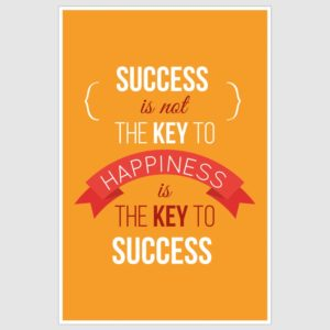 Happiness Is The Key to Success Inspirational Poster (12 x 18 inch)