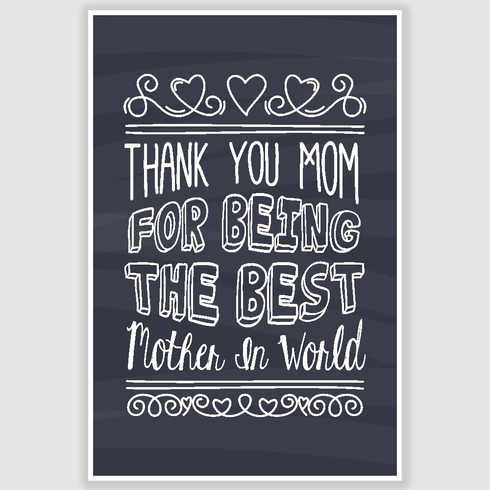 Thank You Mom Best Mother Poster 12 X 18 Inch Inephos
