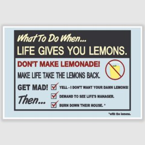 When Life Gives You Lemons Funny Poster (12 x 18 inch)