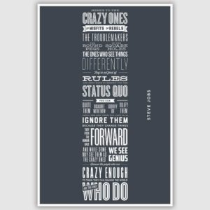 Steve Jobs – Heres to the crazy ones Inspirational Poster (12 x 18 inch)