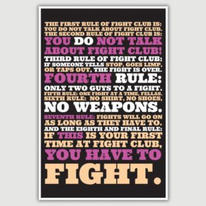 Fight Club – The First Rule Movie Quote Poster (12 x 18 inch)