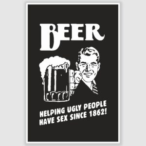 Beer Cartoon Funny Poster (12 x 18 inch)