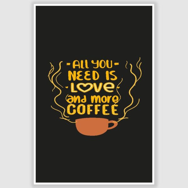 All You Need Is Coffee Poster (12 x 18 inch)
