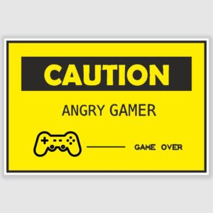 Caution Angry Gamer Funny Poster (12 x 18 inch)