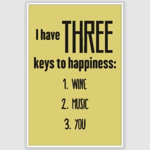 Three Keys To Happiness Poster (12 x 18 inch)