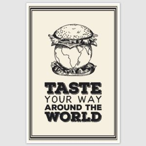 Taste Your Way Travel Inspirational Poster (12 x 18 inch)