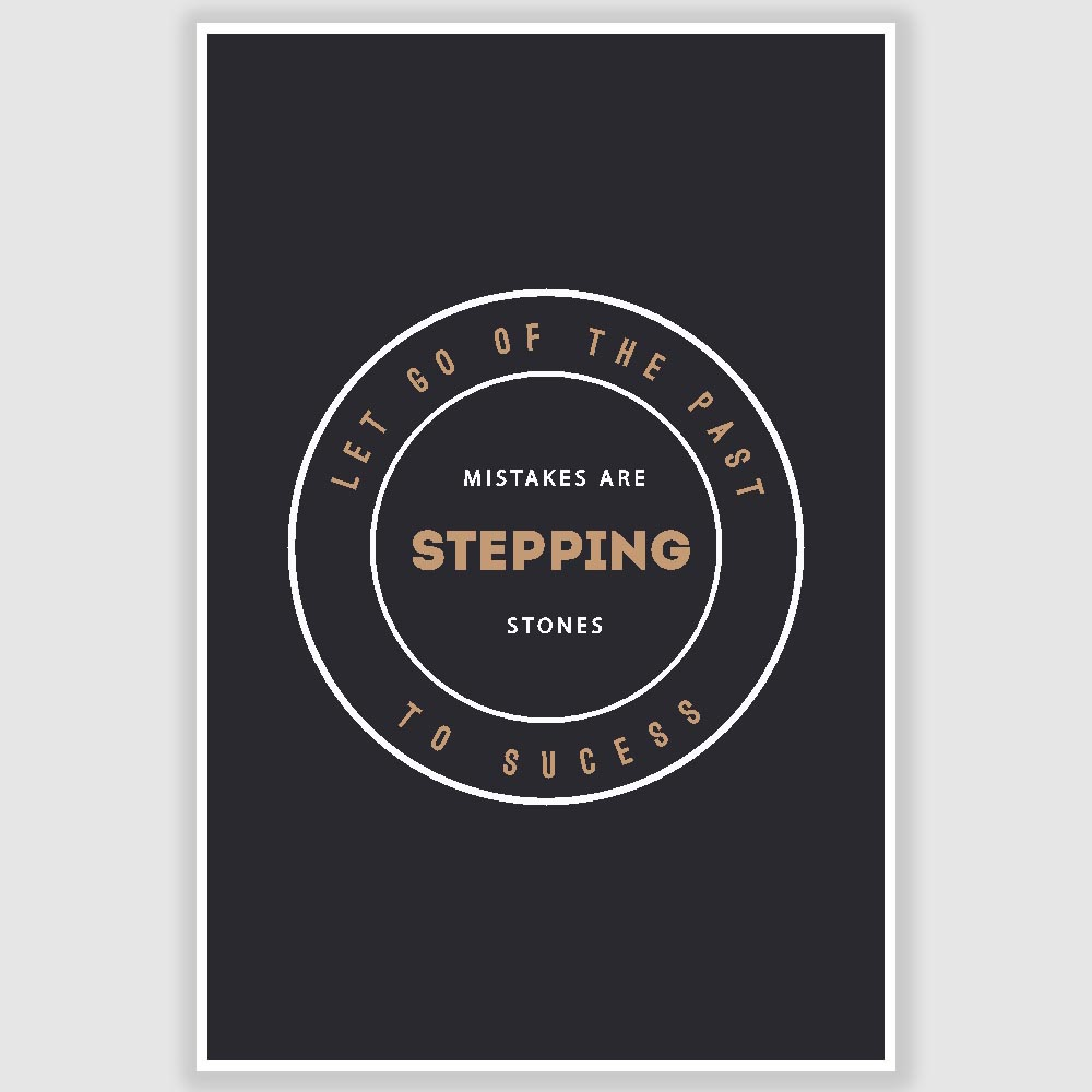 Mistakes Are Stepping Stones Inspirational Poster 12 X 18 Inch
