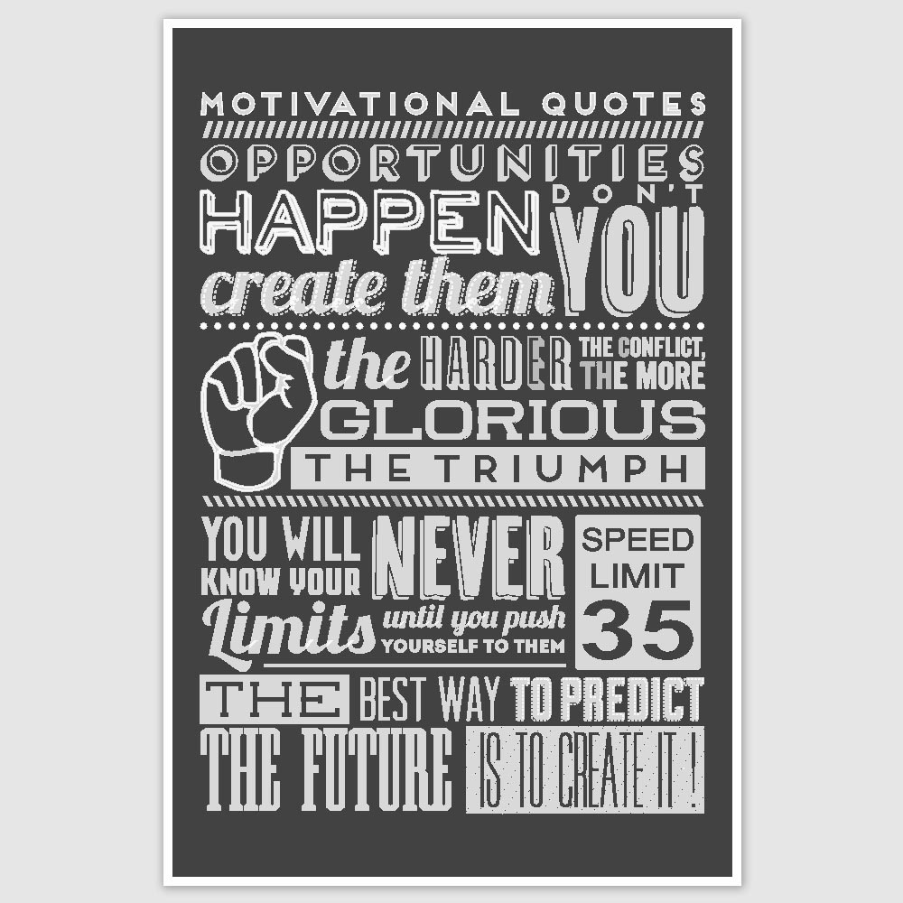 Motivational Quotes About Success: Motivational Quotes Typography Poster (12 X 18 Inch)