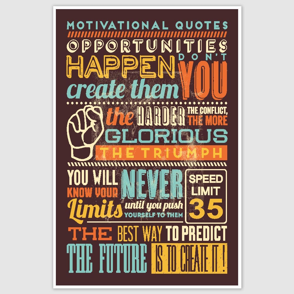 Inspirational Quotes Colorful Poster 12 X 18 Inch Inephos