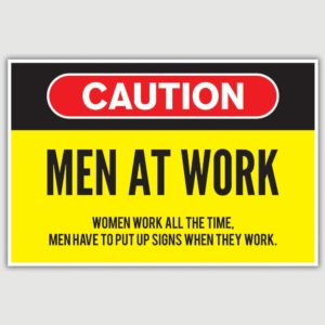 Warning – Men At Work Funny Poster (12 x 18 inch)