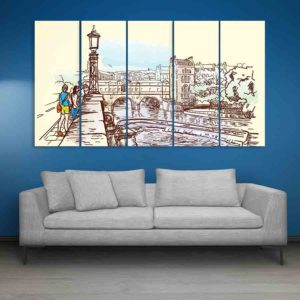 Multiple Frames Riverside London Wall Painting for Living Room, Bedroom, Office, Hotels, Drawing Room (150cm X 76cm)