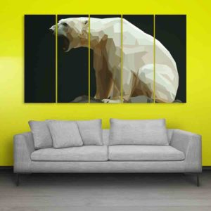 Multiple Frames Bear Polygon Wall Painting for Living Room, Bedroom, Office, Hotels, Drawing Room (150cm X 76cm)