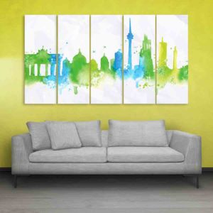 Multiple Frames Skyline Watercolor Wall Painting for Living Room, Bedroom, Office, Hotels, Drawing Room (150cm X 76cm)
