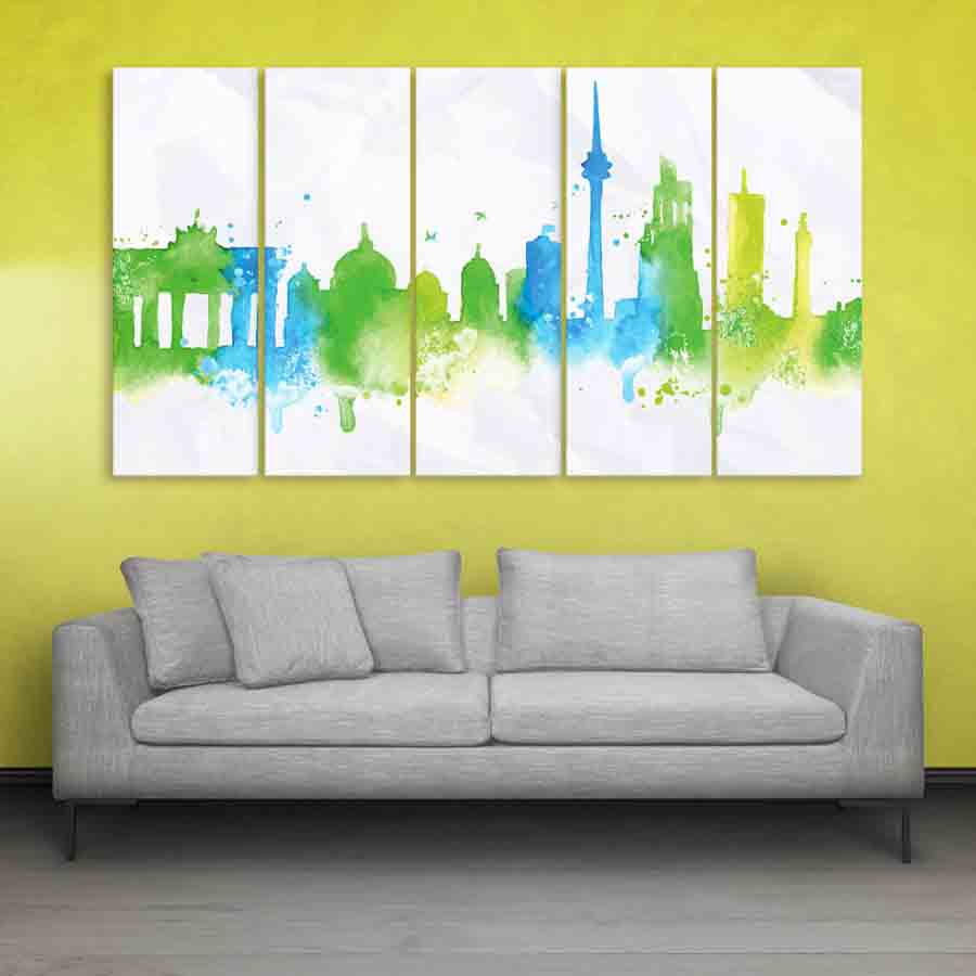 Multiple Frames Skyline Watercolor Wall Painting (150cm X 76cm ...