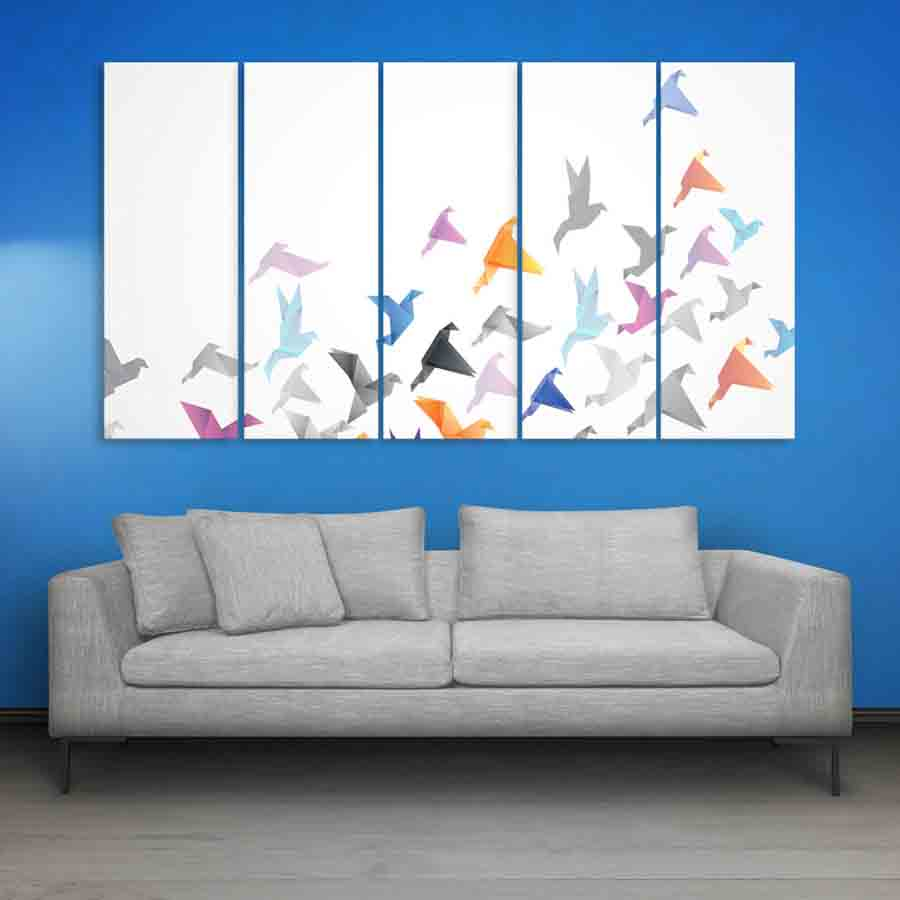 Multiple Frames Birds Abstract Wall Painting (150cm X 76cm) - Inephos