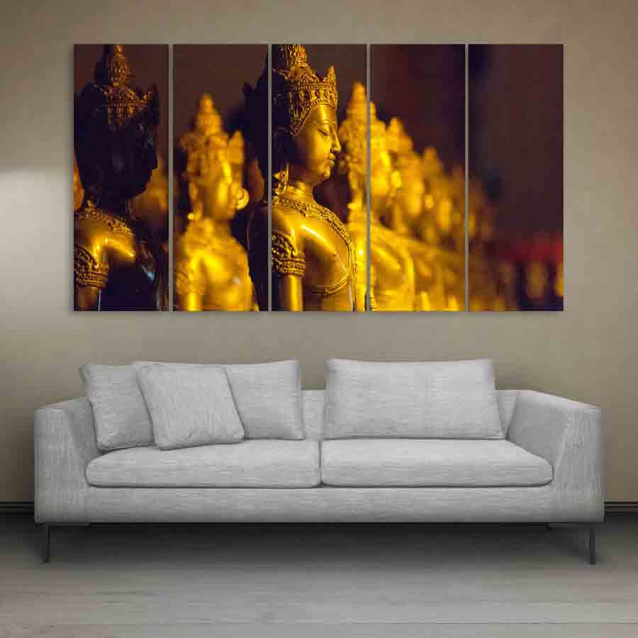 50 Beautiful Wall Painting Ideas And Designs For Living: Multiple Frames Buddha Beautiful Wall Painting For Living