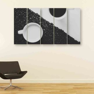 Multiple Frames Beautiful Coffee Cup Wall Painting (150cm X 76cm)