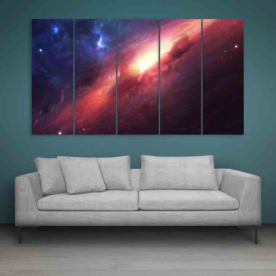 Multiple Frames Beautiful Space Universe Wall Painting For Living Room Bedroom Office Hotels Drawing Room 150cm X 76cm