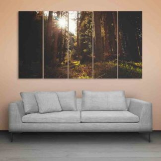 Multiple Frames Beautiful Forest Area Wall Painting (150cm X 76cm)