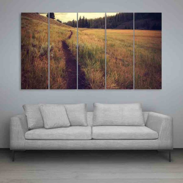 Multiple Frames Nature Grass Wall Painting (150cm X 76cm)