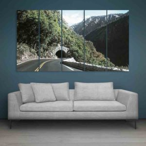 Multiple Frames Tunnel In Mountains Wall Painting for Living Room, Bedroom, Office, Hotels, Drawing Room (150cm X 76cm)