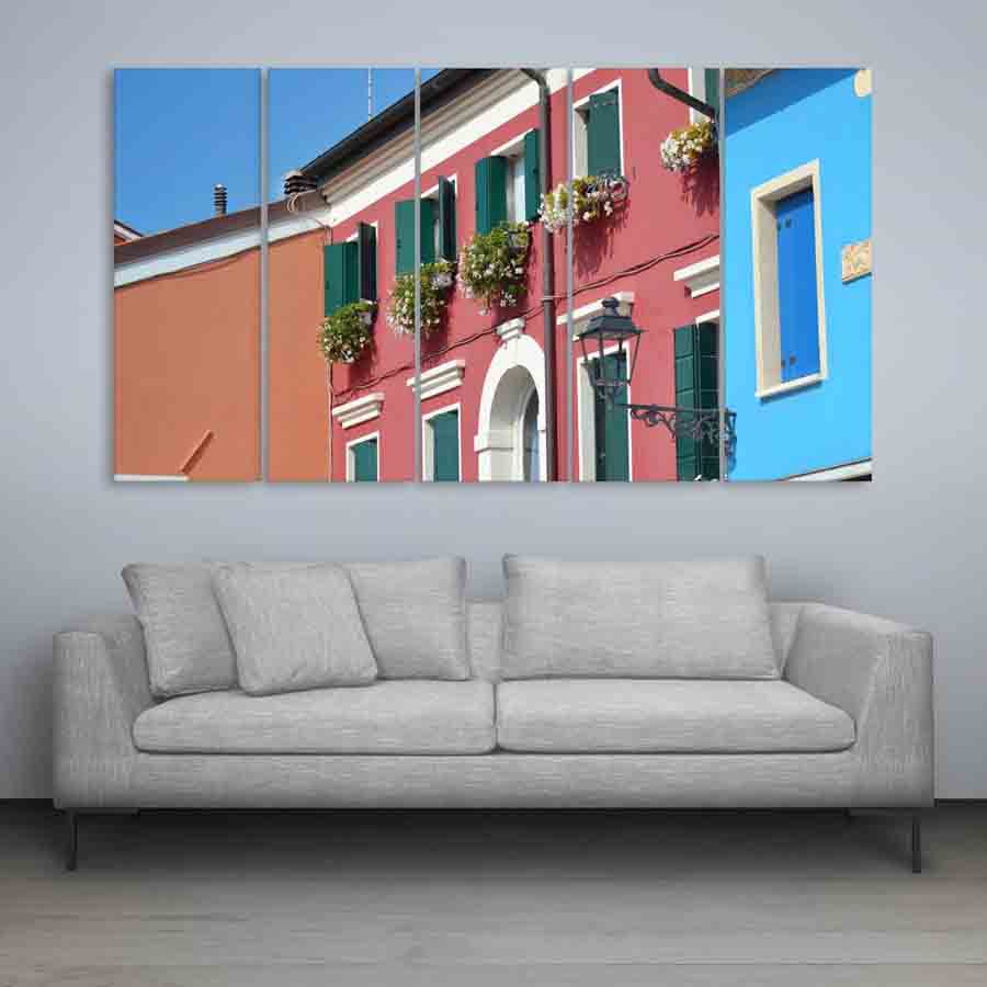 Multiple Frames Beautiful Colorful Homes Wall Painting For Living Room Bedroom Office Hotels Drawing 150cm X 76cm