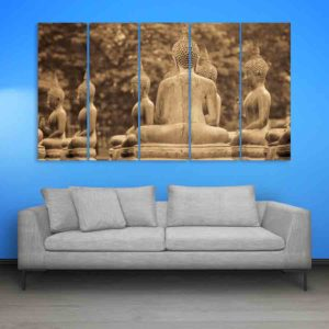 Multiple Frames Buddha Beautiful Wall Painting for Living Room, Bedroom, Office, Hotels, Drawing Room (150cm X 76cm)