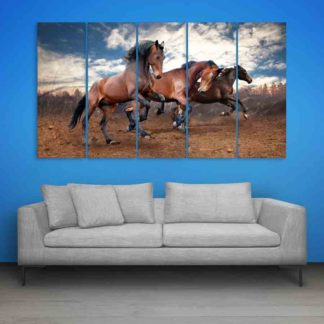 Multiple Frames Running Horses Wall Painting (150cm X 76cm)