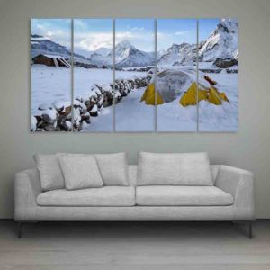 Multiple Frames Snow Mountains Wall Painting for Living Room, Bedroom, Office, Hotels, Drawing Room (150cm X 76cm)