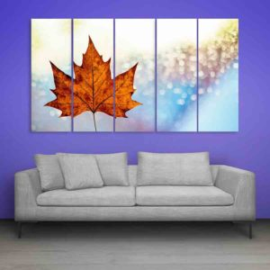 Multiple Frames Beautiful Leaf Wall Painting for Living Room, Bedroom, Office, Hotels, Drawing Room (150cm X 76cm)