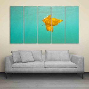 Multiple Frames Leaf In Water Wall Painting for Living Room, Bedroom, Office, Hotels, Drawing Room (150cm X 76cm)