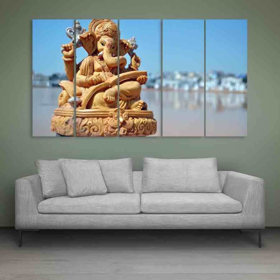 Multiple Frames Lord Ganesha Beautiful Wall Painting For Living Room Bedroom Office Hotels Drawing Room 150cm X 76cm