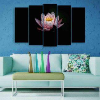 Multiple Frames Lotus Flower Wall Painting (150cm X 76cm)