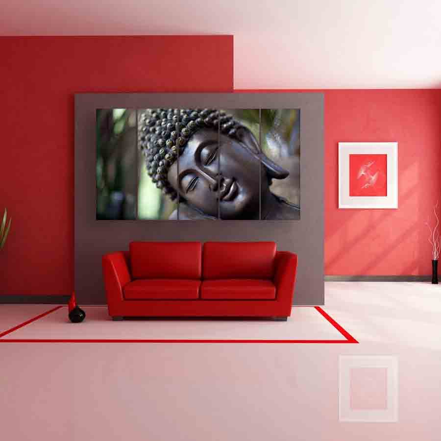 . Multiple Frames Buddha Beautiful Wall Painting for Living Room  Bedroom   Office  Hotels  Drawing Room  150cm X 76cm
