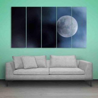 Multiple Frames Beautiful Moon Wall Painting (150cm X 76cm)