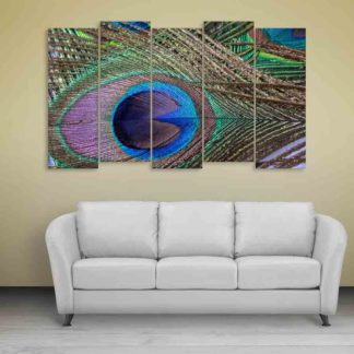 Multiple Frames Beautiful Peacock Feather Wall Painting (150cm X 76cm)