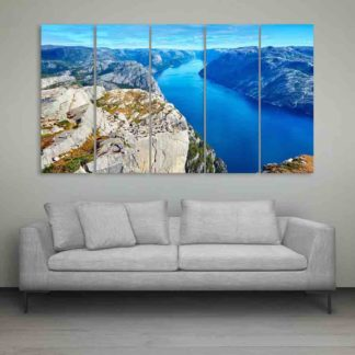 Multiple Frames Beautiful Hills Wall Painting (150cm X 76cm)
