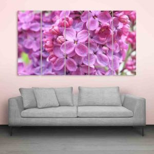 Multiple Frames Beautiful Lilac Flowers Wall Painting for Living Room, Bedroom, Office, Hotels, Drawing Room (150cm X 76cm)