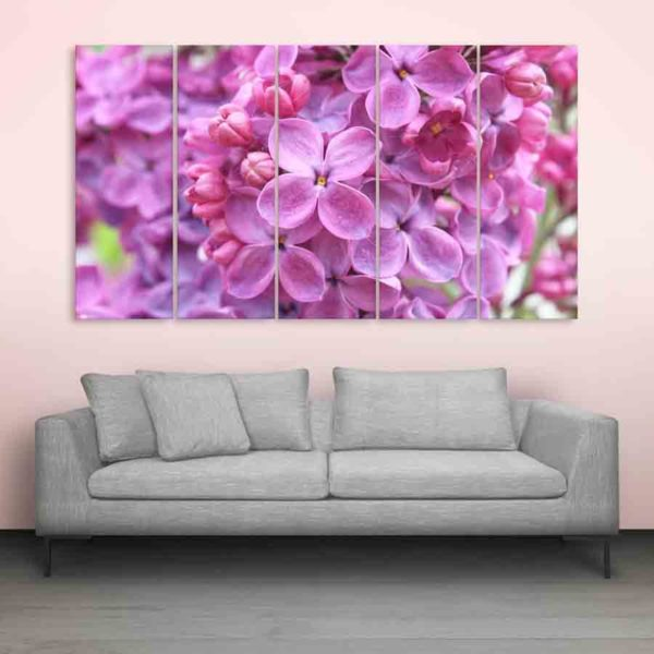 Multiple Frames Beautiful Lilac Flowers Wall Painting (150cm X 76cm)