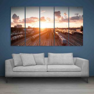 Multiple Frames Beautiful Railway Track Wall Painting (150cm X 76cm)