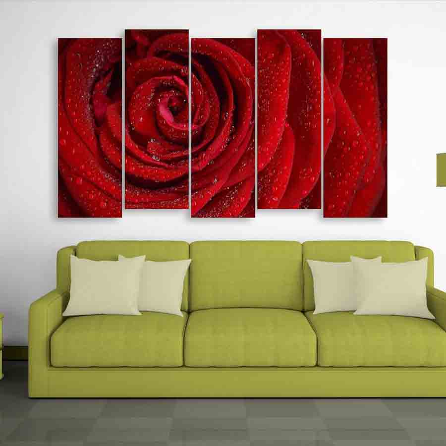 Multiple Frames Beautiful Red Rose Wall Painting (150cm X 76cm ...