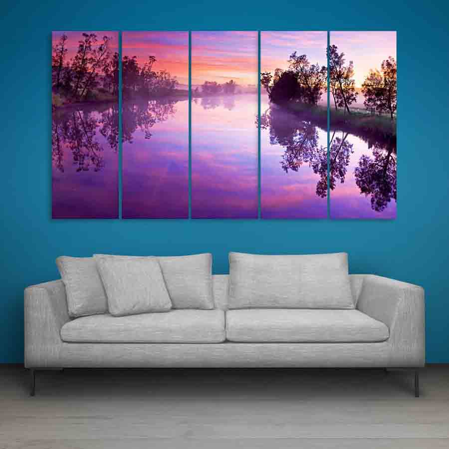 Multiple frames beautiful river wall painting 150cm x 76cm inephos - A beautiful painting on wall ...