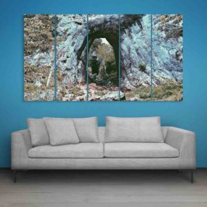 Multiple Frames Rocks Forest Wall Painting for Living Room, Bedroom, Office, Hotels, Drawing Room (150cm X 76cm)