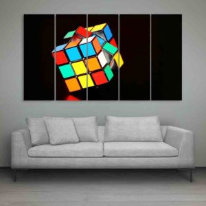 Multiple Frames Rubik Cube Wall Painting for Living Room, Bedroom, Office, Hotels, Drawing Room (150cm X 76cm)