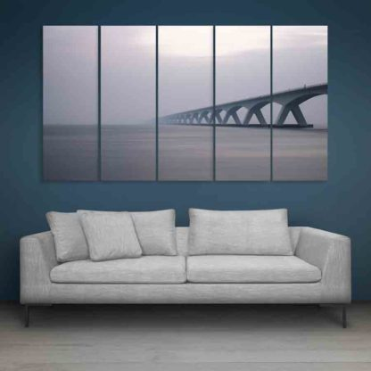 Multiple Frames Beautiful Bridge Wall Painting (150cm X 76cm)