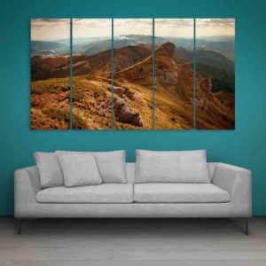 Multiple Frames Beautiful Mountains Nature Wall Painting for Living Room, Bedroom, Office, Hotels, Drawing Room (150cm X 76cm)