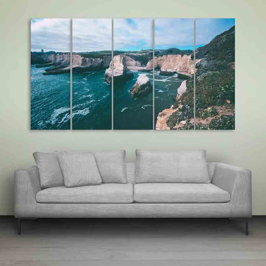 multiple frames beautiful seattle skyline wall painting 10223 | inephos 10223 sea shore wall painting