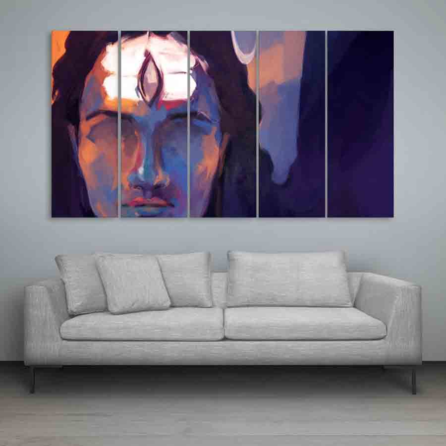 Multiple Frames Lord Shiva Wall Painting (150cm X 76cm) - Inephos