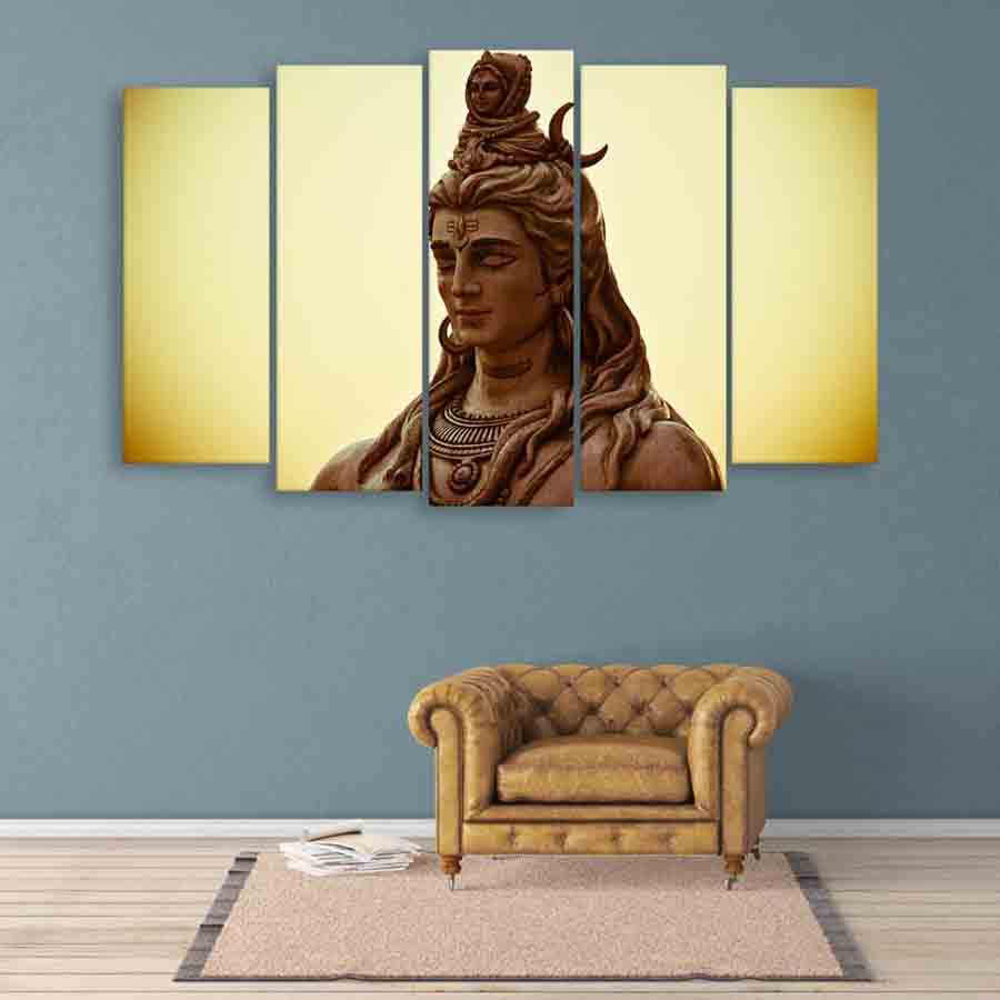 Multiple Frames Lord Shiva Wall Painting 150cm X 76cm