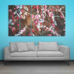 Multiple Frames Snow Cherry Leaves Wall Painting for Living Room, Bedroom, Office, Hotels, Drawing Room (150cm X 76cm)